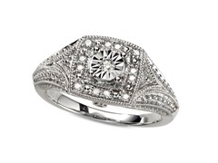 Sterling Silver and Diamond Antique Square Ring