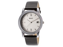 Men's Silver Dial Black Watch