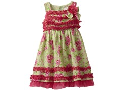 Floral & Dot Print Rouched (Sizes 2T-4T)