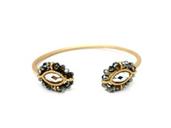 Gold-Plated & Glass Bead Open Bangle - Silver