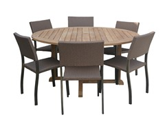 60-Inch Table, 6 Silver Armchairs