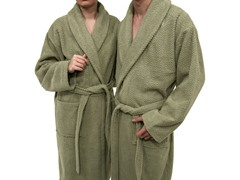 Unisex Herringbone Weave Bathrobe-Light Olive