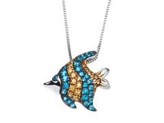 Sterling Silver Fish Pendant w/ Topaz