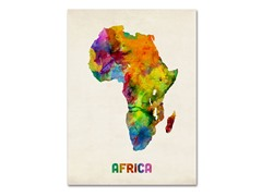 Africa Watercolor Map' Canvas Art- 2 Sizes