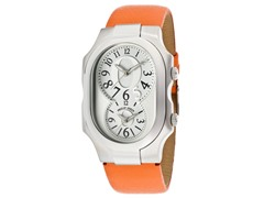 Women's Dual Time Orange Leather Watch