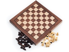 Chess Board Walnut Book Style w/Staunton Chessmen
