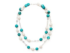 SS Stone & Pearl Drop Necklace