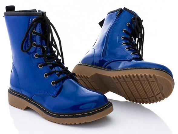 Rasolli Combat Boots, Blue Patent