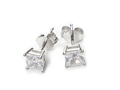 1.25CT Square CZ Soiltaire Post Earrings