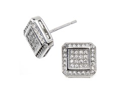 18kt Plated Square CZ Earrings