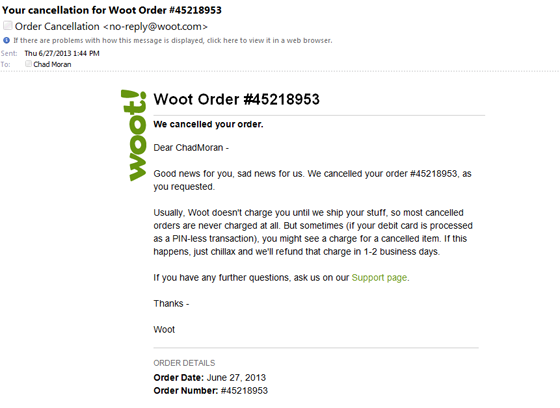 Order Cancellation: You Can Do It Now, If You Must - Woot