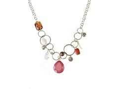 Relic Multicolored Beaded Charm Necklace, Gold