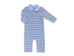 Blue Yarn Striped Coverall (3-9M)