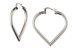 18k White Gold Plated Small Puffed Heart