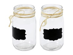 Glass Mason Jar & Chalk Set- Set of 2