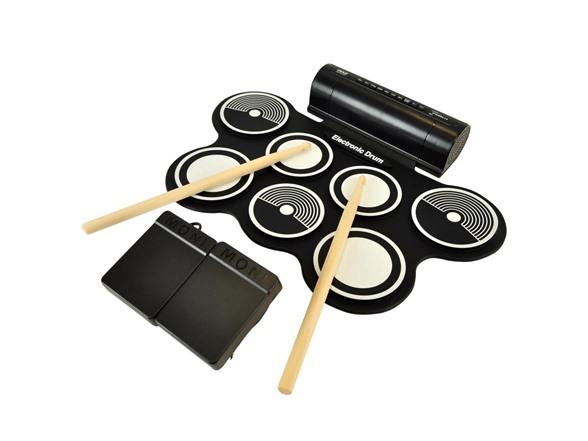 Pyle Ptedrl14 Usb Midi Roll Up Drum Kit W Speaker