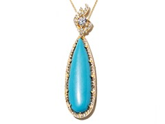 18kt Plated Synthetic Turquoise Necklace