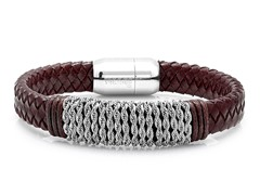 "8.5"" Brown Braided Leather Bracelet"