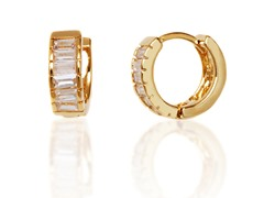 Gold & White Huggie Earrings