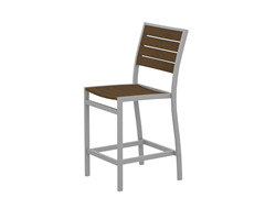 Euro Counter Chair, Silver/Teak