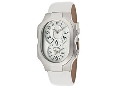 Women's Dual Time White Leather Watch