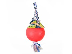 Durable Romp Roll Dog Pet Ball Toy: Red- Multiple Sizes
