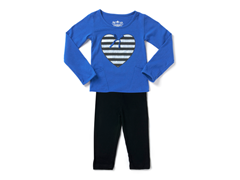 Blue Stripe Heart Legging Set