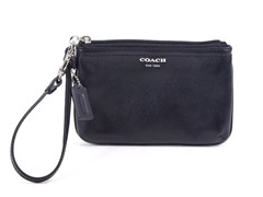 Box Leather Small Wristlet, Silver/Black
