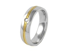 18kt Gold Plated SS Simulated Diamond Stripe Band