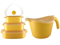 Batter Bowl, Lid & 6-Piece Set Lemon