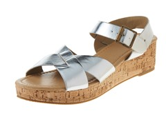Carrini Criss-Cross Wedge Sandal, Silver