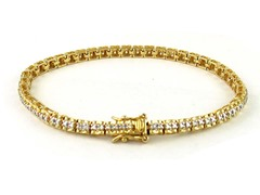 Gold Plated SS Diamond Accent Tennis Bracelet