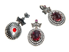 Set of SS Otantic Oval Ruby Hydro Genuine Semi-Precious Gemstone