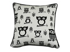 Hooty Black 17x17 Pillow