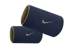 Premier Doublewide Wristbands - Navy/Gold
