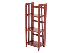 Folding 3 Tier Small Bookcase - Mahogany
