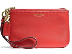 Box Leather Small Wristlet, Brass/Red