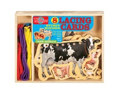 Farm Animals Wooden Lacing Cards