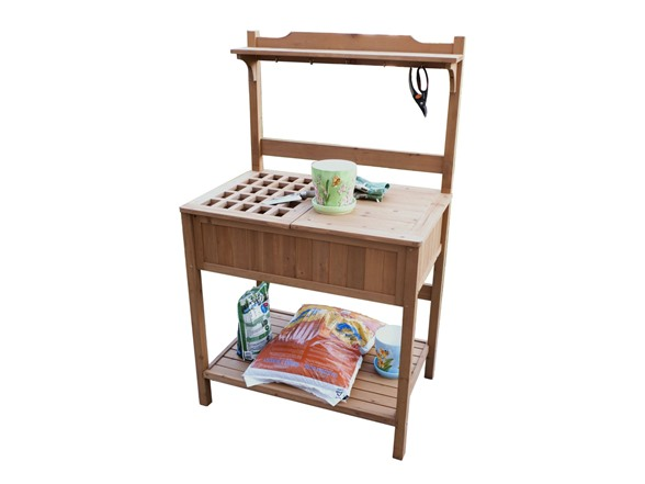 Recessed storage potting bench - Potting table with storage ...