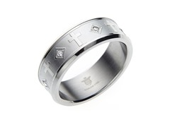 Stainless Steel & CZ Cross Ring