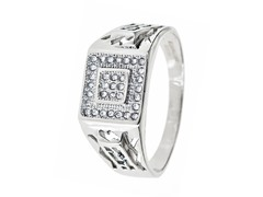 SS Cut Out Square Simulated Diamond Ring