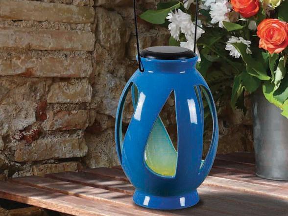 Design Craft Twist Solar Lantern Blue Woot