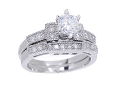 18kt WG Plated SS Diamond Cut Sim Diamond Ring Set
