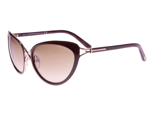 3c652359ad Tom Ford Brown And Gold Daria Cat eye Sunglasses