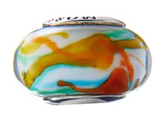 Blue & Yellow Swirl Glass Bead