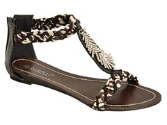 Braided T-Strap Sandal, Black With Fringe