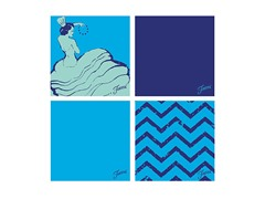 Fiesta Blue Dancing Chevrons Coasters