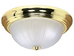 "1-Light 11"" Flush Dome, Polished Brass"