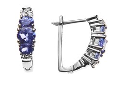 SS Tanzanite & White Topaz Earrings