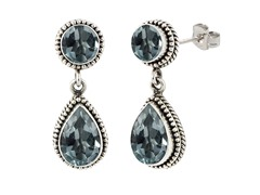 SS Balinese Round & Pear Shape Blue Topaz Gemstone Dangle Earrings